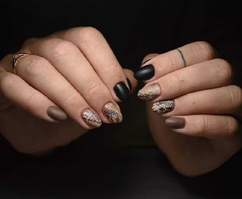 black and brown nail design