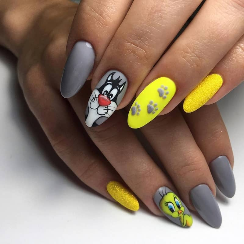 cartoon gel nails