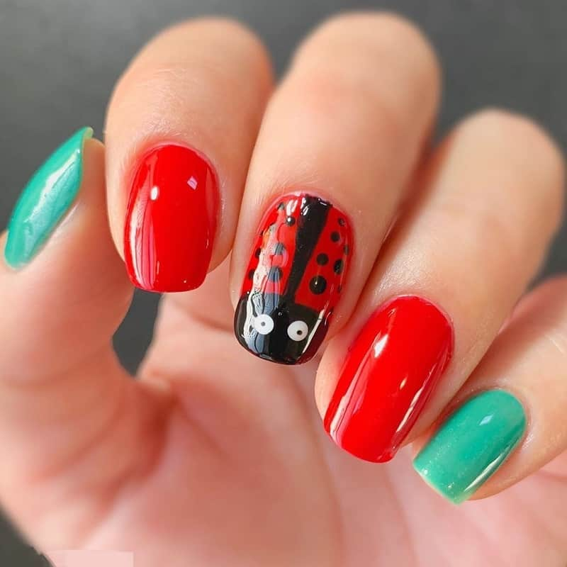 colorful animal print nail design