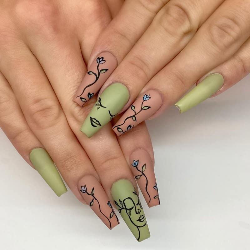 green and tan nails