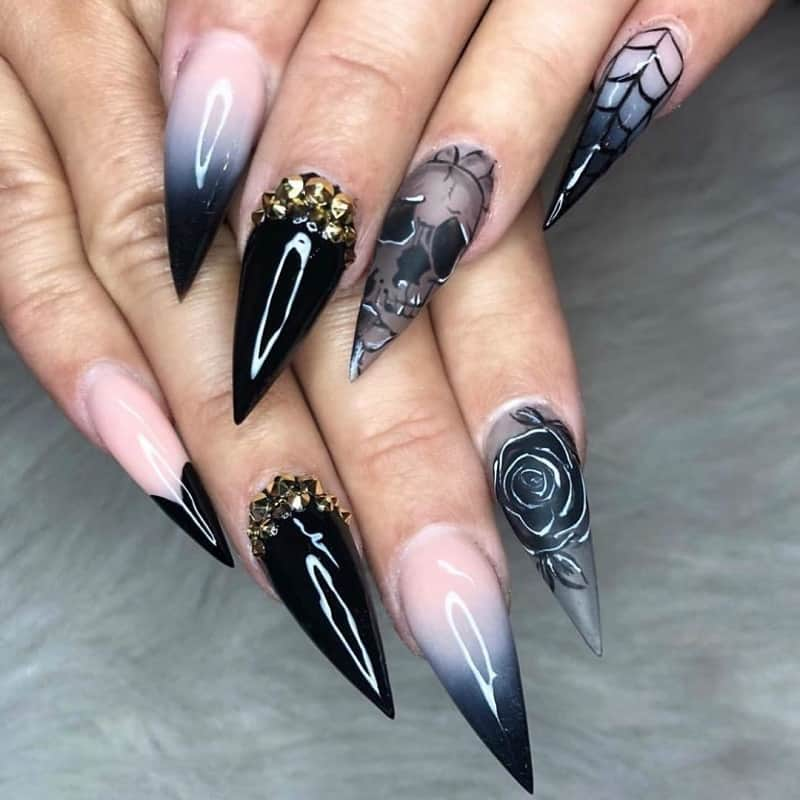 long stiletto skull nail designs