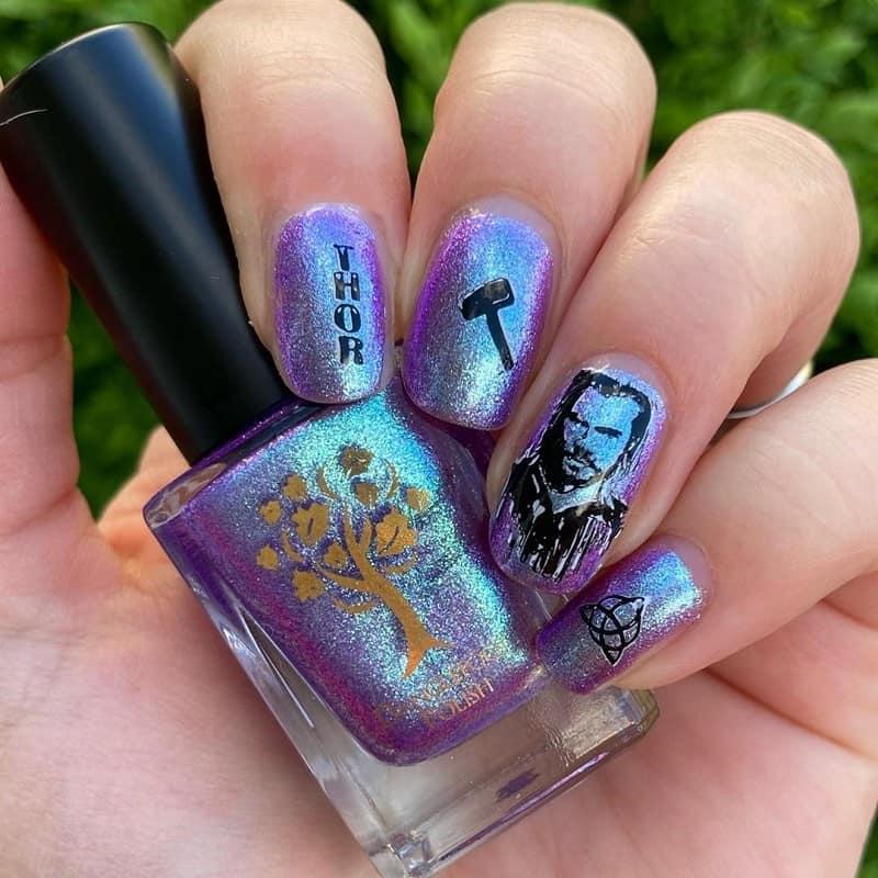 marvel superhero thor nail art