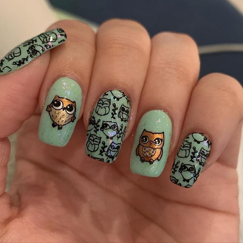 owl acrylic nail design