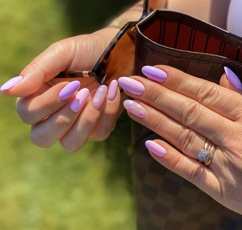purple fake nails design