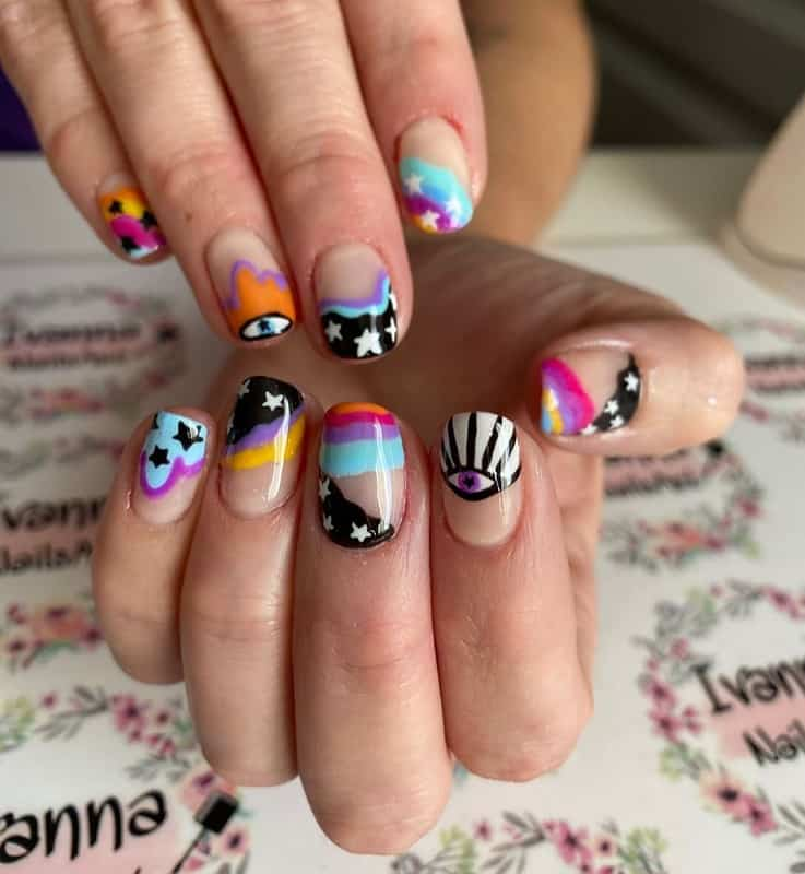 hippie aesthetic nail stickers