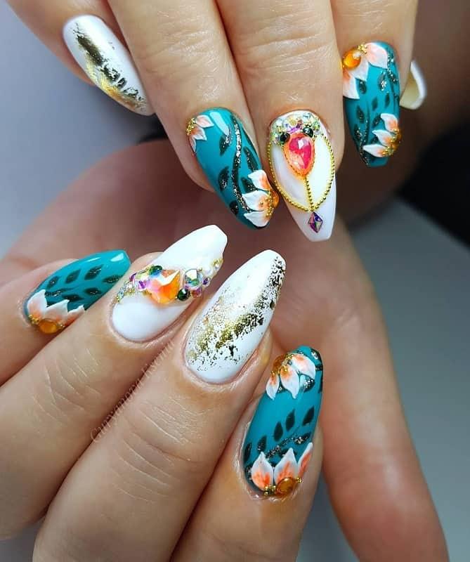 spring nail design with rhinestones