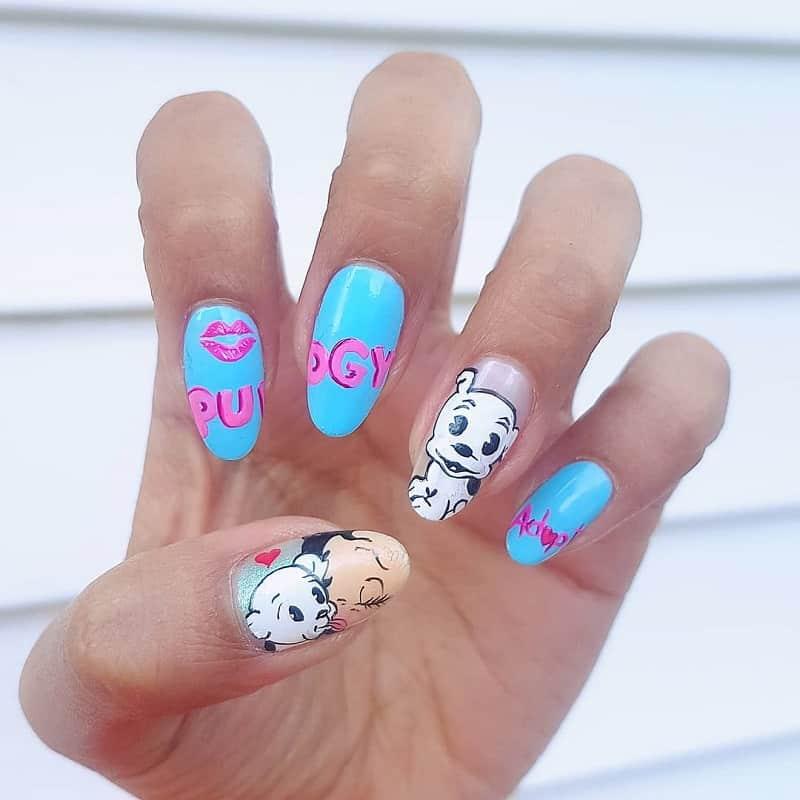 dog nail acrylic design