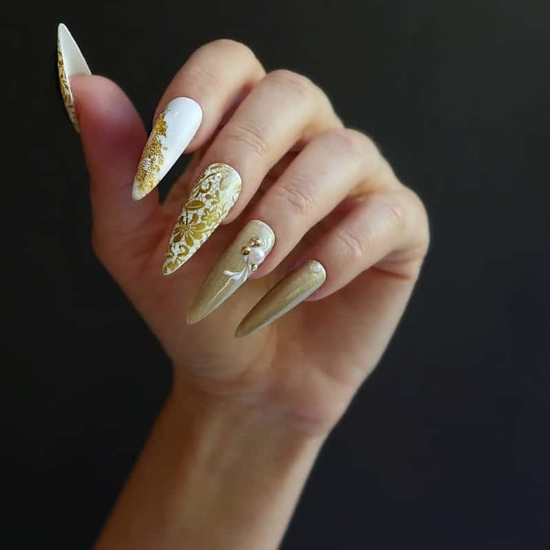 gold lace nail jewelry