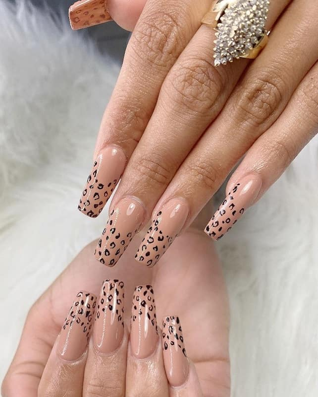cheetah animal print nail design