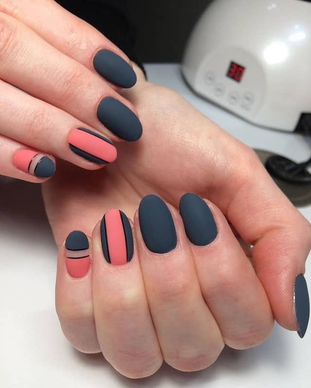 two color geometric nail art