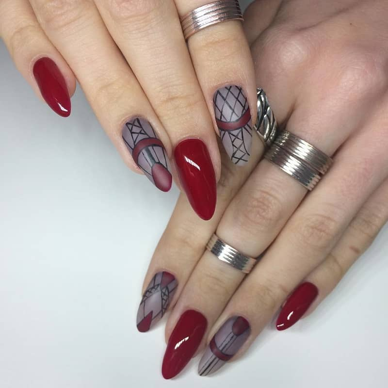 geometric almond nail art design