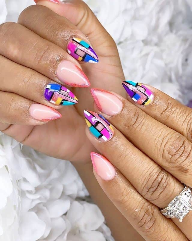 short stiletto nail design