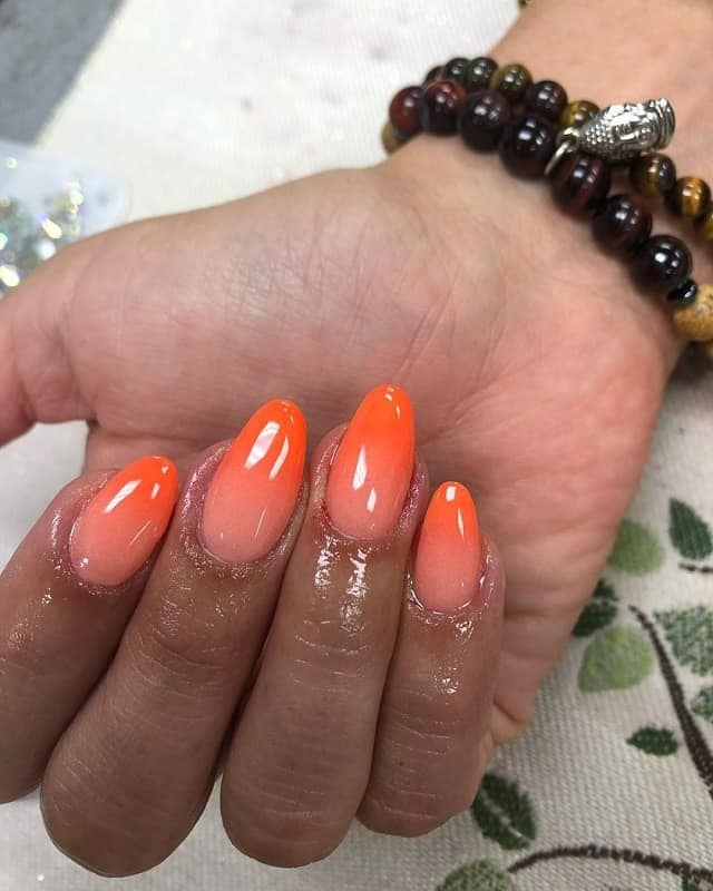 acrylic oval ombre nails