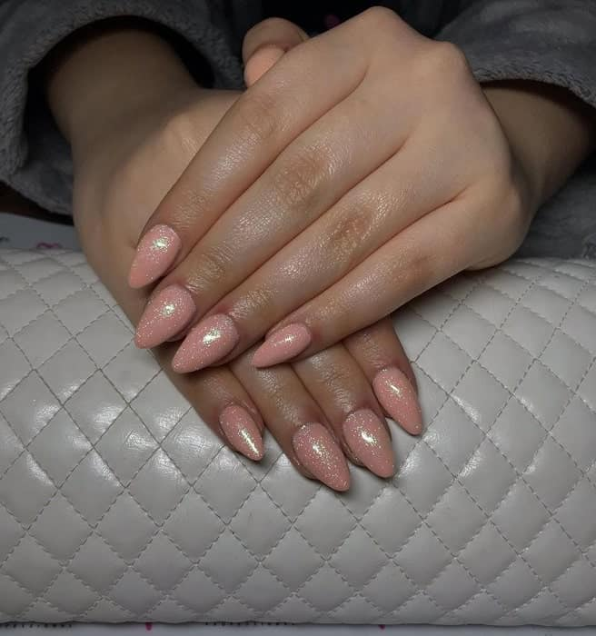 Lovely Almond Shaped Peach Nails