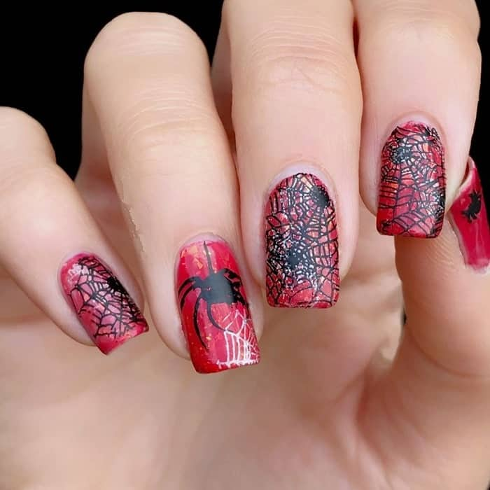black and red halloween nail design