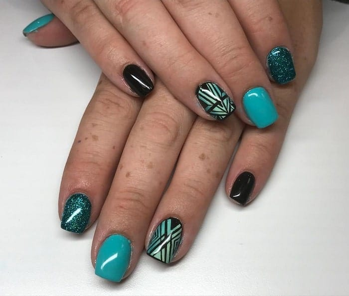 Black And Teal Nail Art