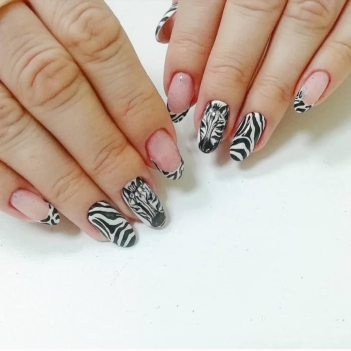 black and white zebra nail art