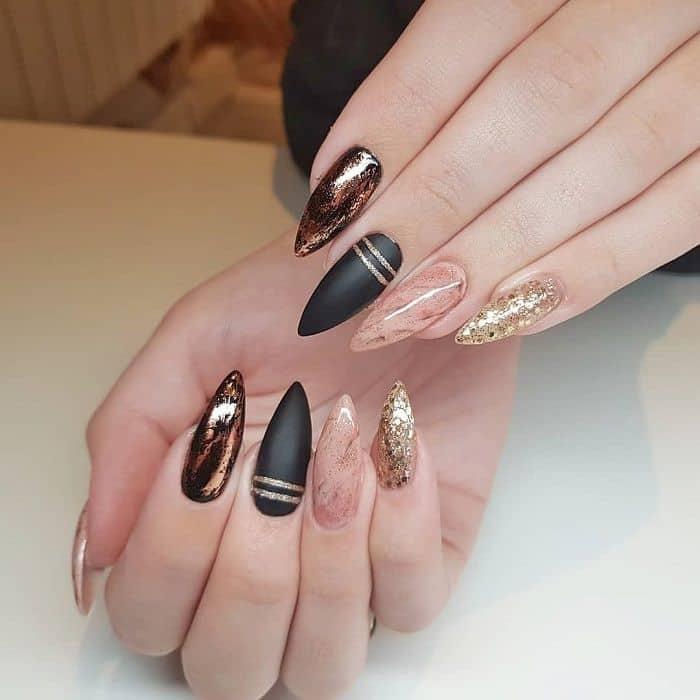 Black Gold Stiletto Nails