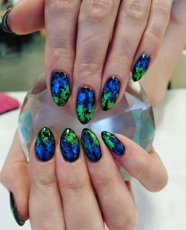 blue and green nail designs