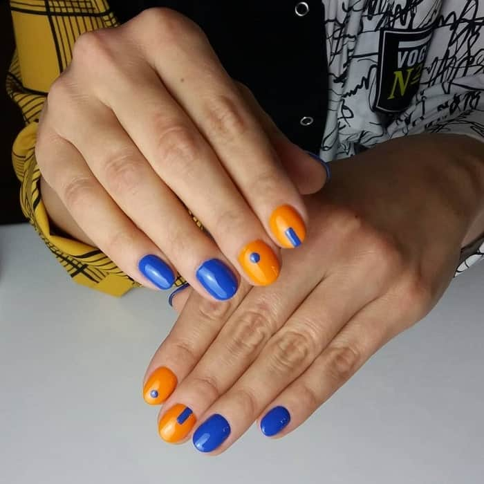 Lovely Blue And Orange Nails