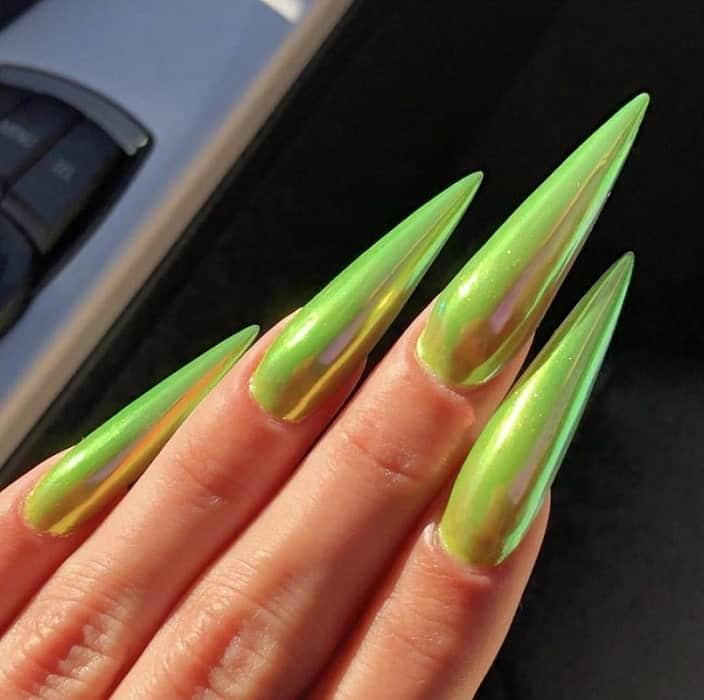 lime green chrome nails