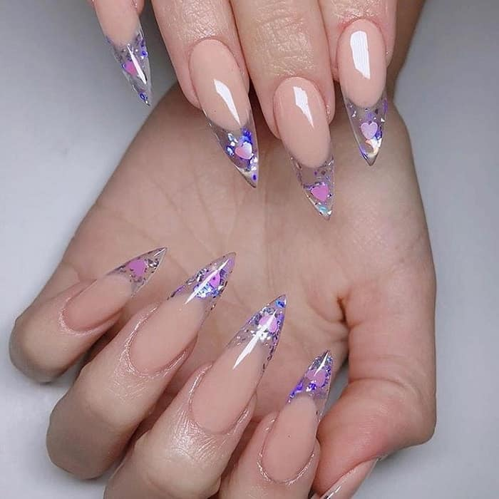 clear pointy nails