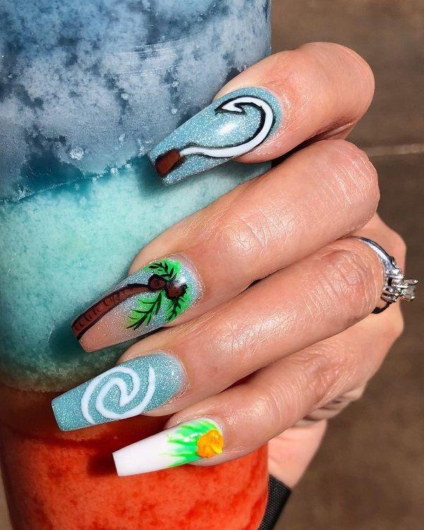 Disney Moana Nails