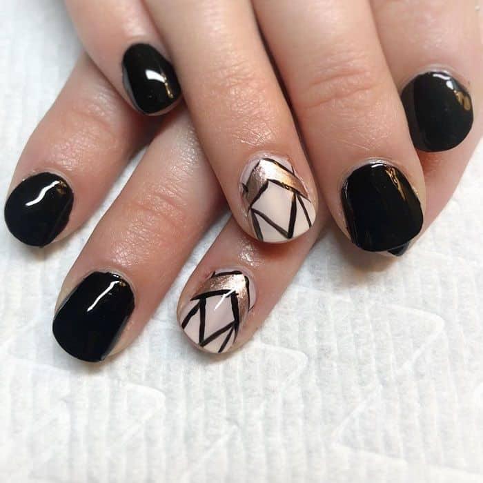 Gold And Black Short Nails