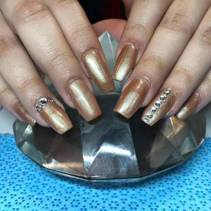 Gold Coffin Nails