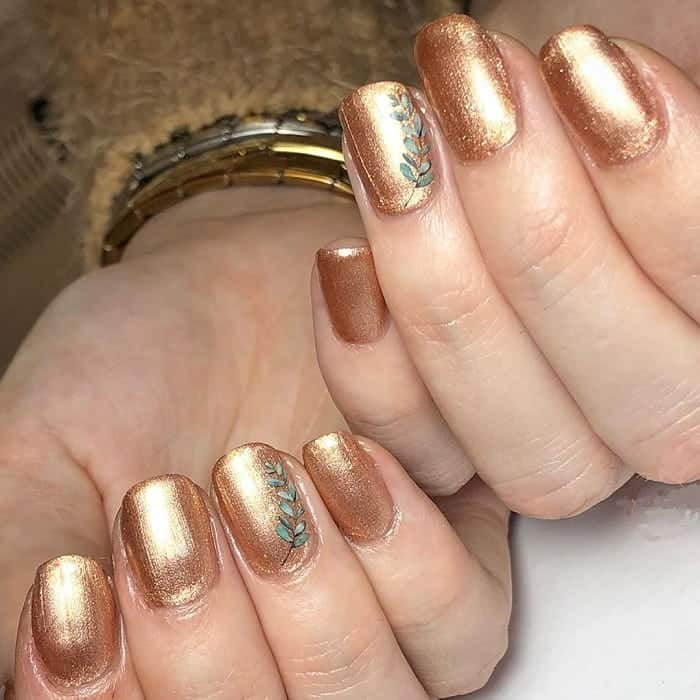 Gold Gel Nails