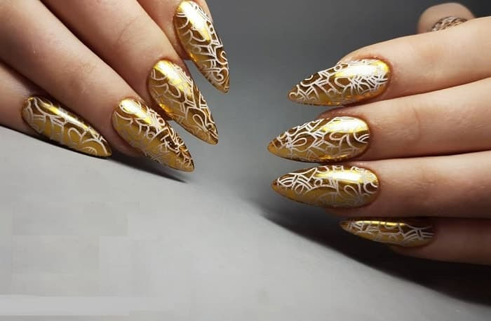 Gold Nails for Prom