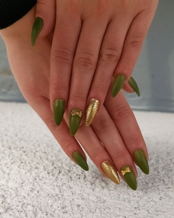 Green Stiletto Shaped Nails