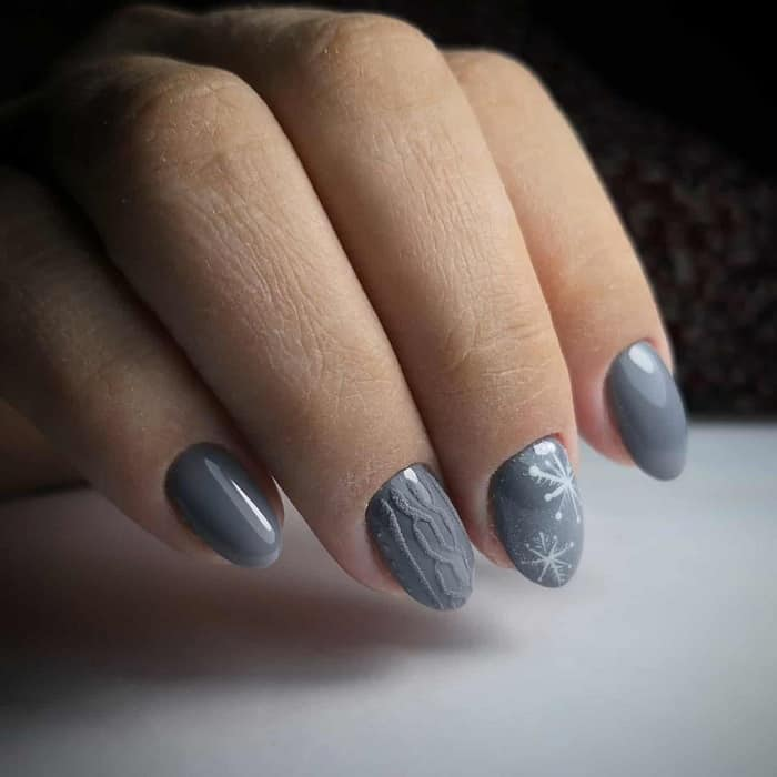 grey snowflake nails