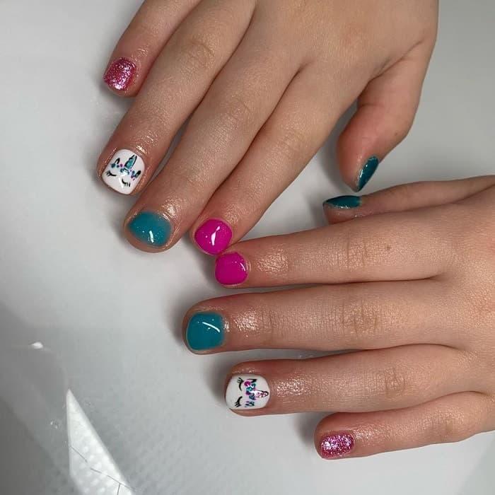 unicorn nail design for kid
