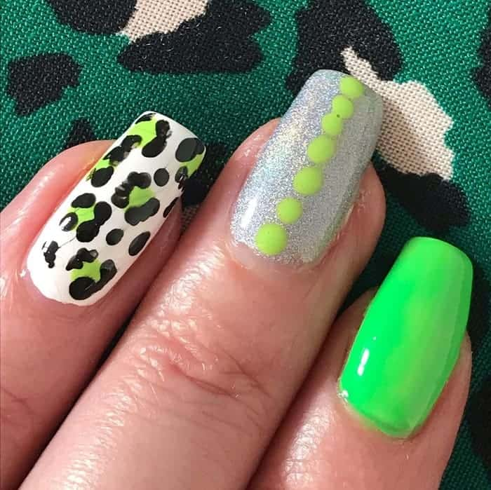 lime green and silver nail art