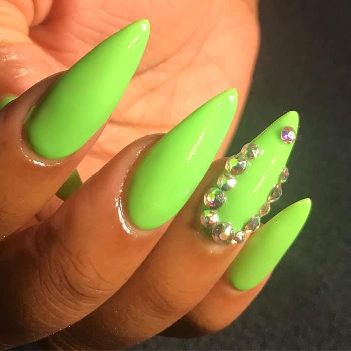 lime green nails with diamonds
