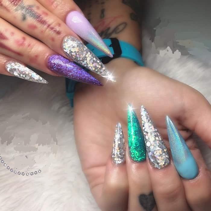 long glitter nails