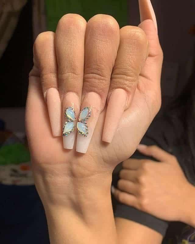 matte long nails
