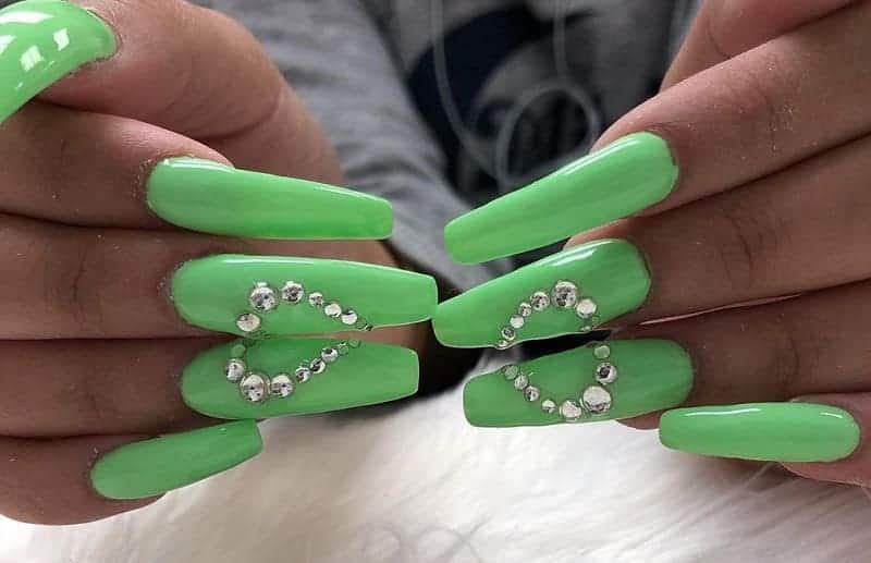 long nail design with diamonds