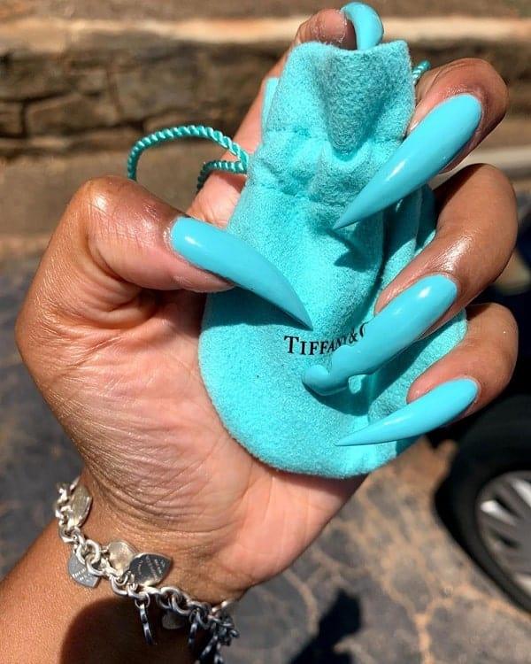 Long Tiffany Blue Nails