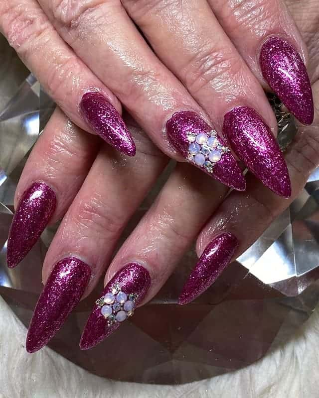 magenta glitter nails