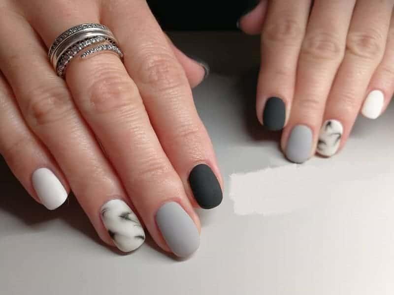 matte marble nail design