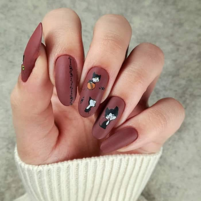 oval acrylic matte nail design