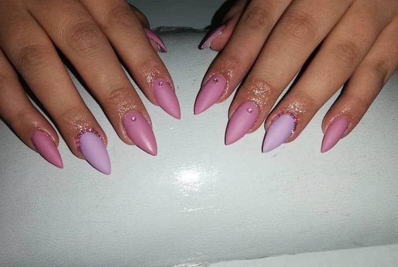 pointy matte nail design