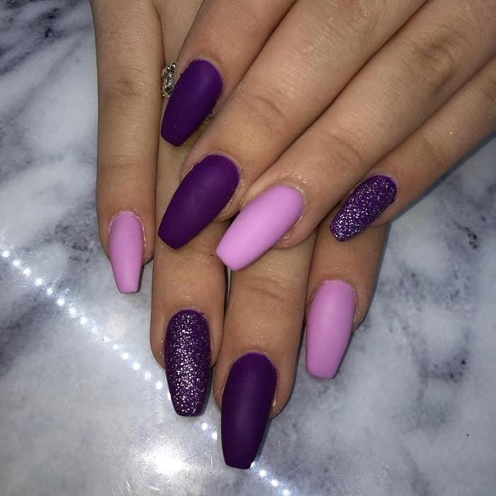 matte purple nail design