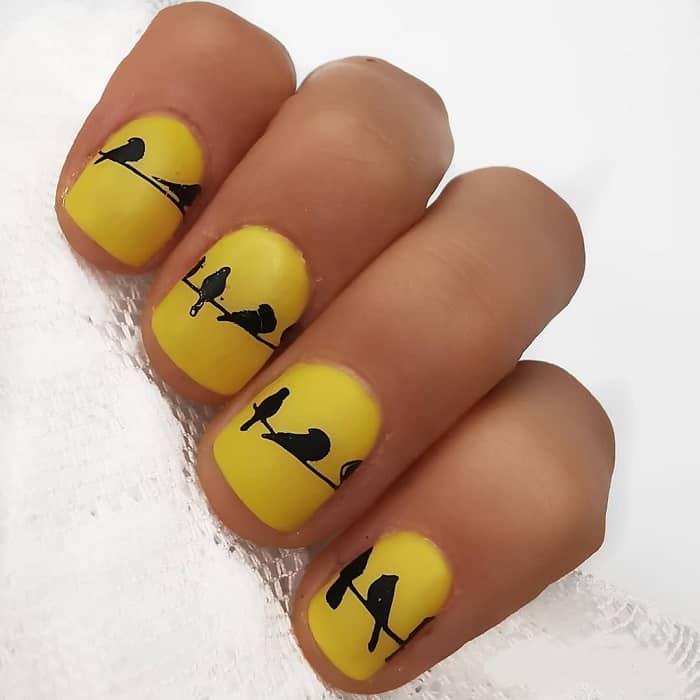 matte yellow nails
