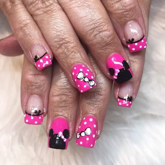 Minnie Mouse French Tip Nails