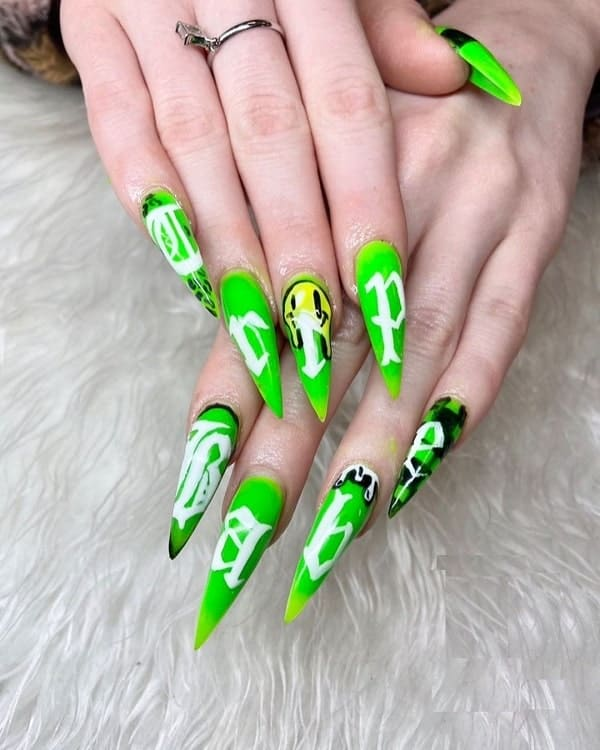 Neon Green Nail Art
