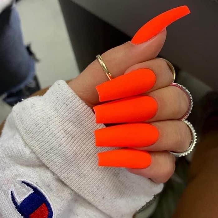 Bold Neon Orange Nails