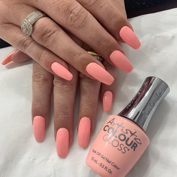 Neon Peach Color Nails